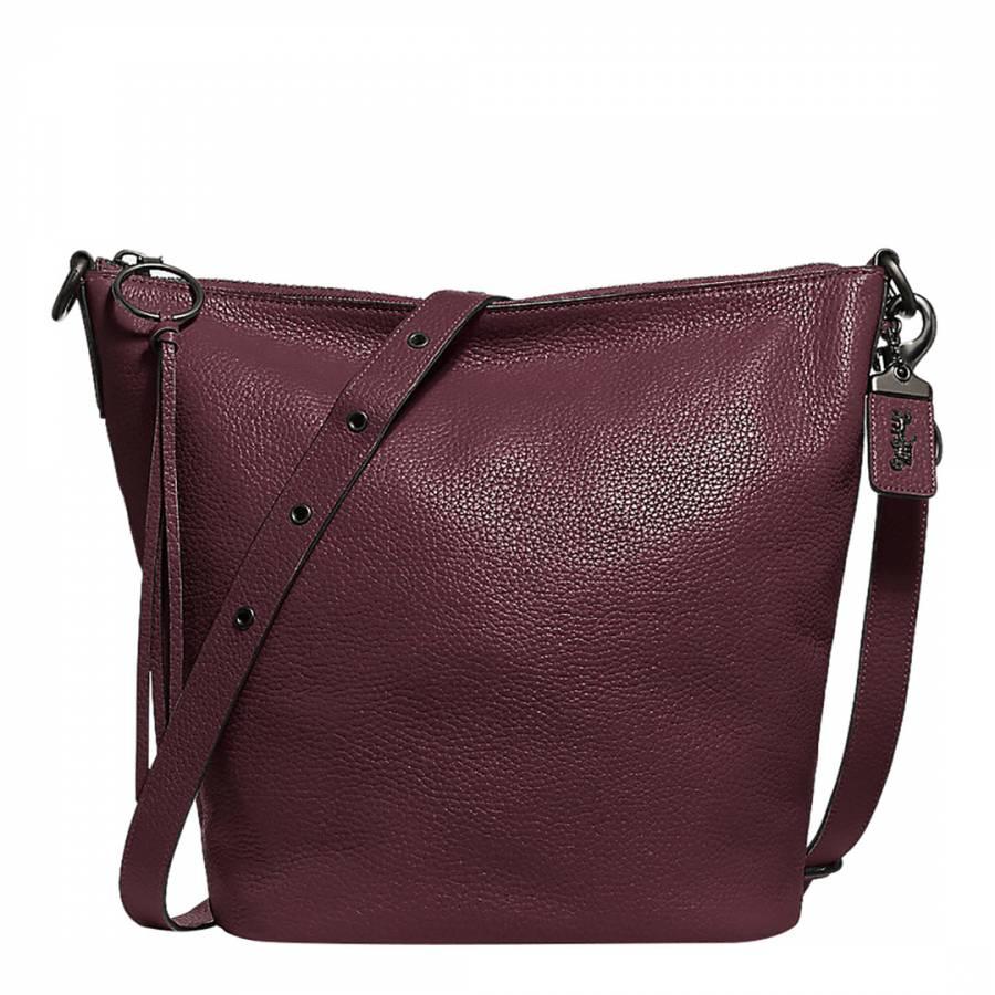 Dark Oxblood Leather Glovet Shoulder Bag - BrandAlley 9d6c52edcc