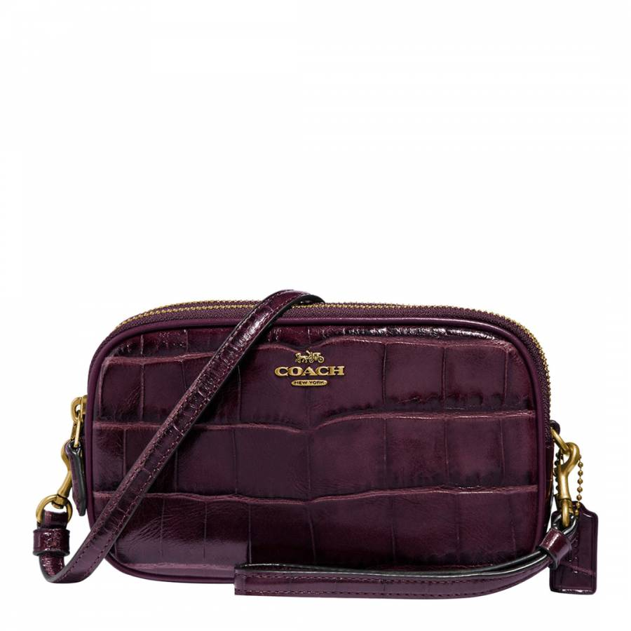 ed384cd8f9 Plum Embossed Croc Crossbody Bag - BrandAlley