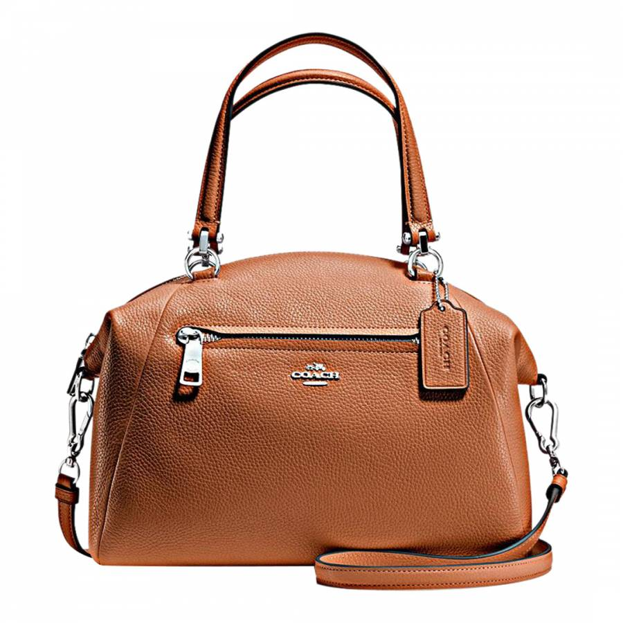 8e709e499c9c Camel Pebbled Leather Prairie Satchel - BrandAlley