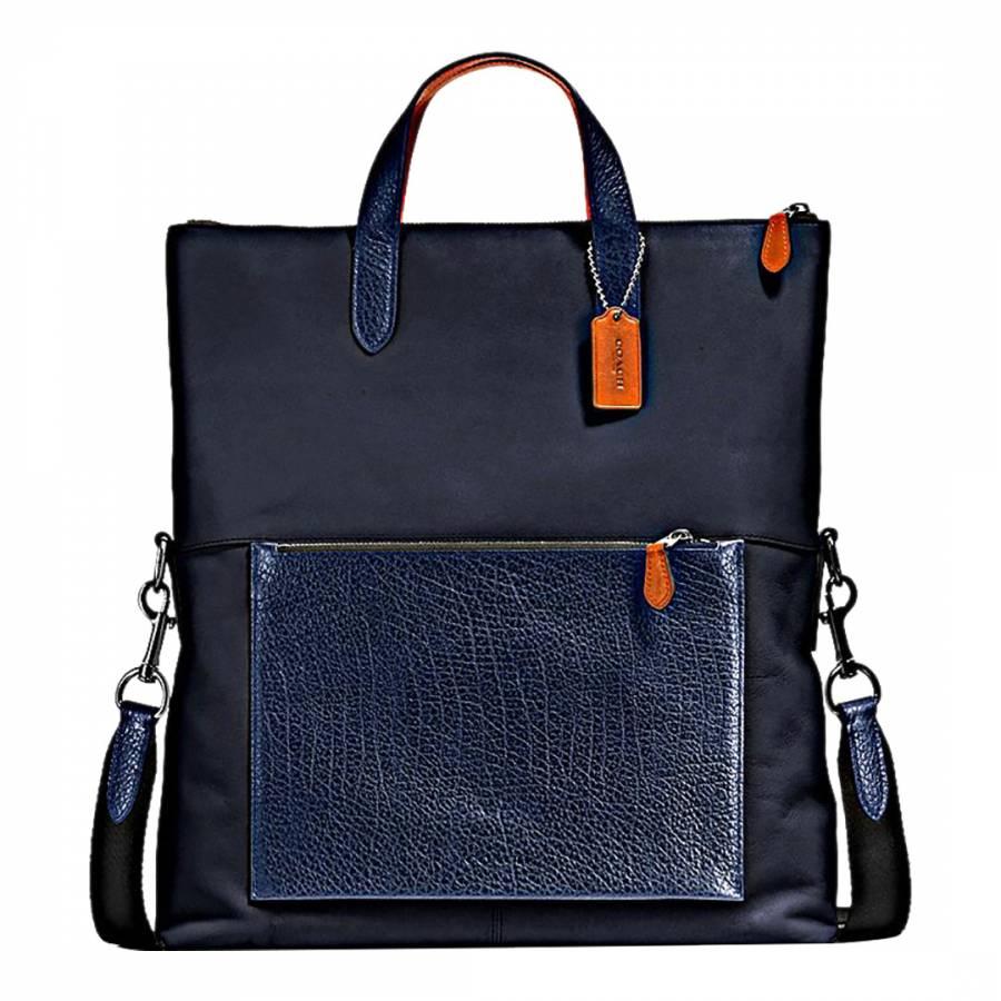 Navy Leather Manhattan Foldover Tote Bag - BrandAlley fe3e162e2496c