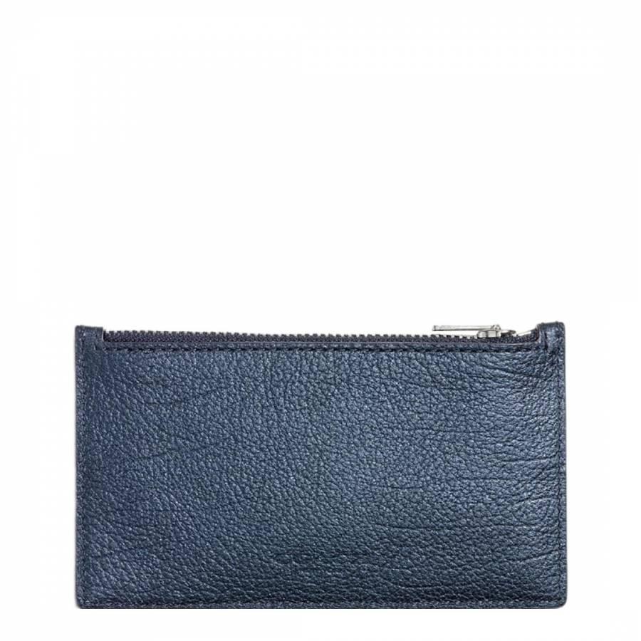 3fc3d3e7 Coach Metallic Blue Leather Zip Card Case