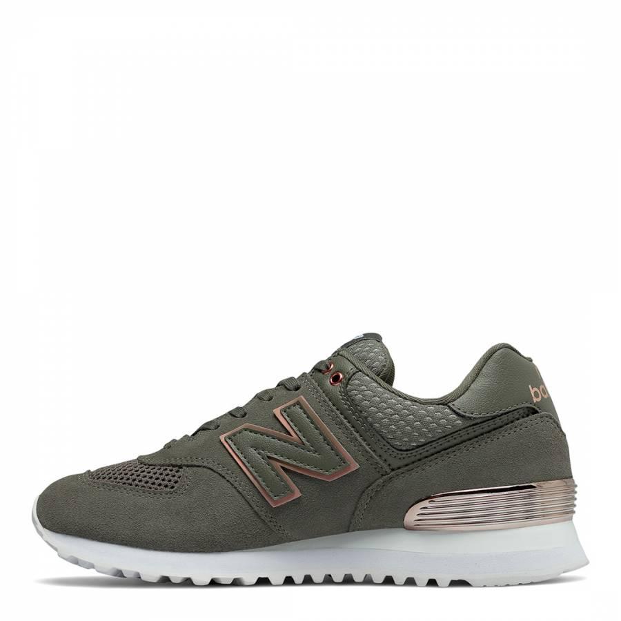 052d144b49a Khaki Green Suede 574 Sneakers - BrandAlley