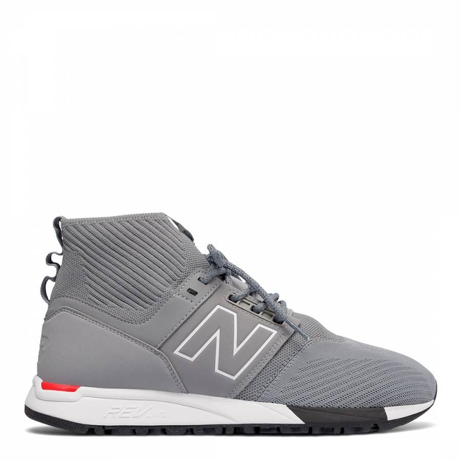 Grey 247 Mid-Cut Sneakers - BrandAlley