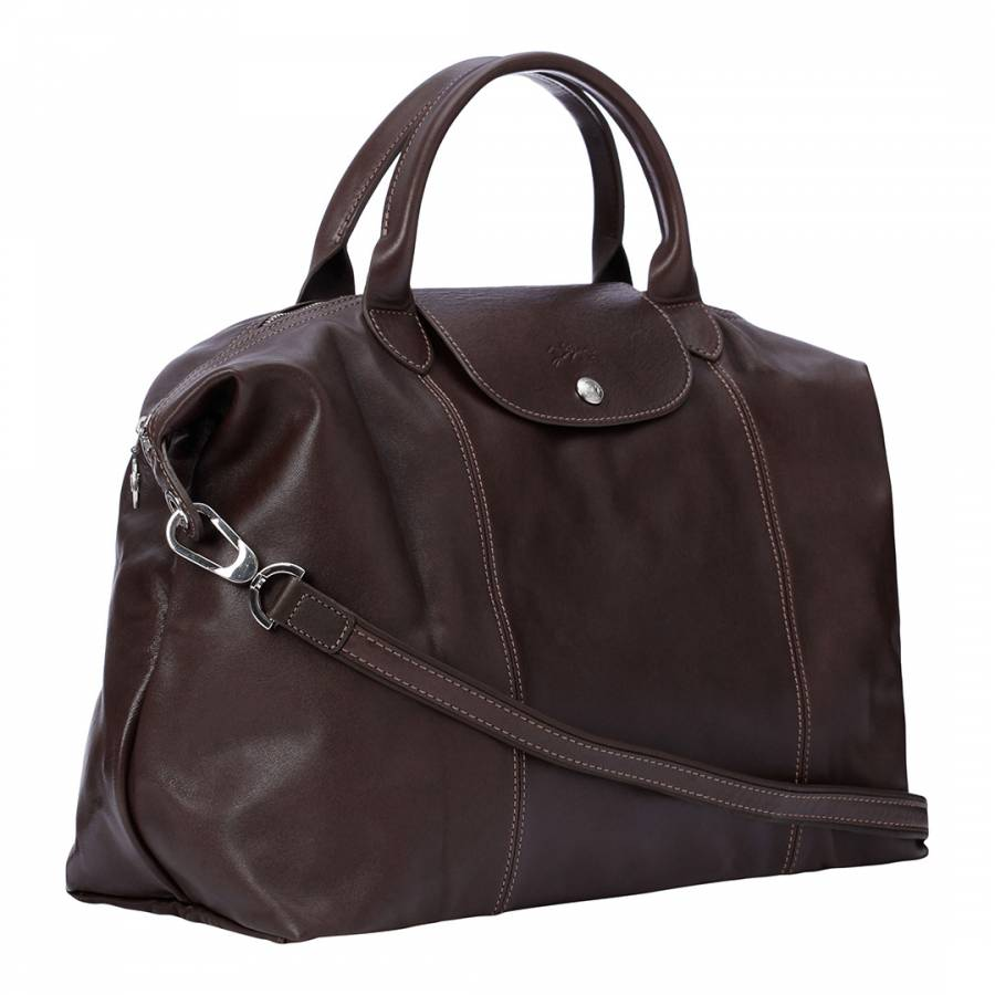 Taupe Large Le Pliage Cuir Top handle bag - BrandAlley