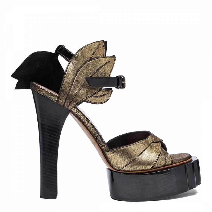 6566c41bfbd7 Gold Leather Metallic Drama Court Heels - BrandAlley