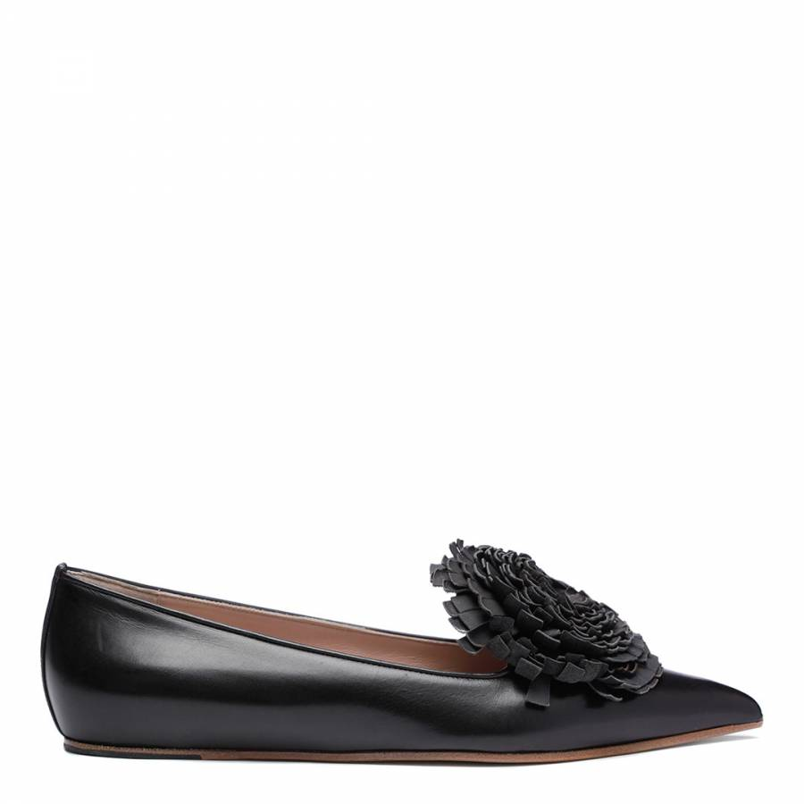Image of Black Leather Flower Detail Ballerina Shoes