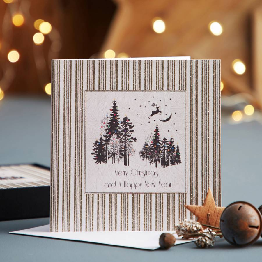 five dollar shake set of 12 magical forest merry christmas happy new year cards