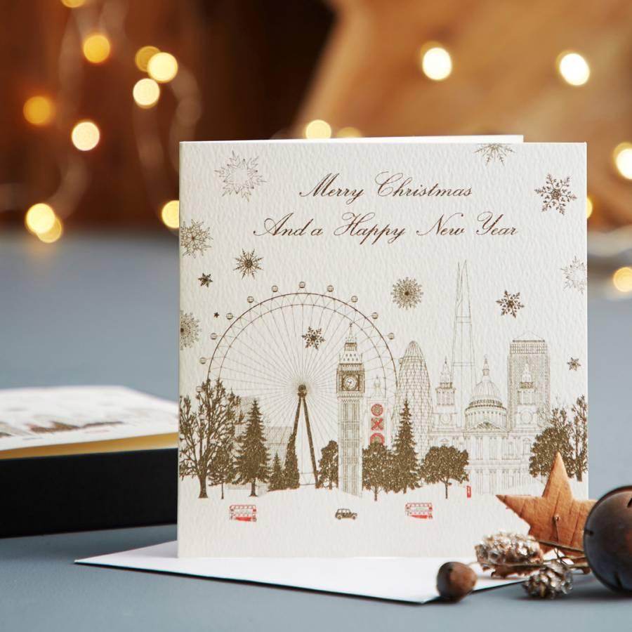 five dollar shake set of 12 city skyline merry christmas happy new year cards