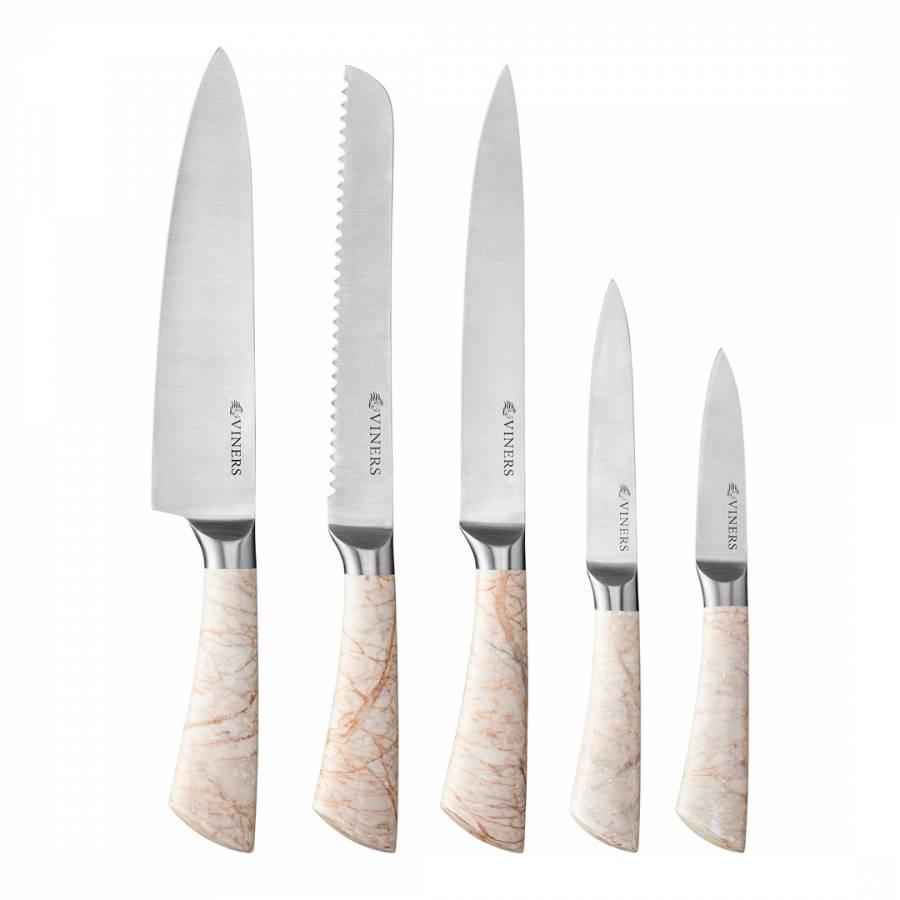 5 Piece Marble Knife Set Brandalley