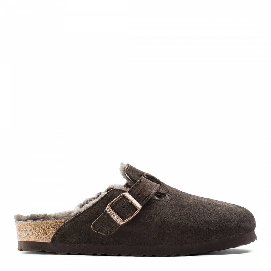 07ce029b6697 Mocha Suede Leather Boston Shearling Mules - BrandAlley