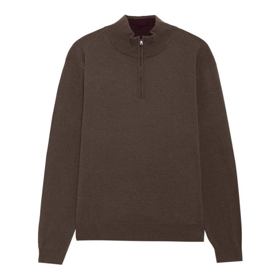 c167435d8a07c9 Hackett London Chocolate Half Zip High Neck Cashmere Blend Jumper