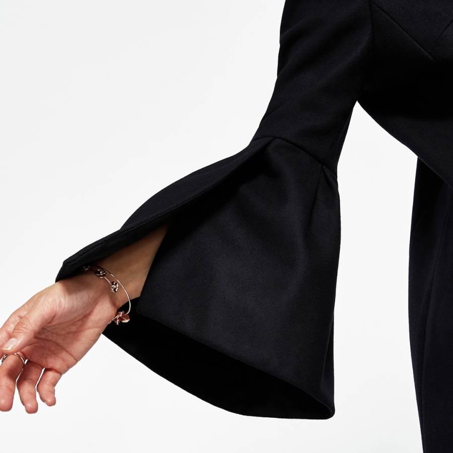 Black Jordane Bell Sleeve Wool Coat - BrandAlley