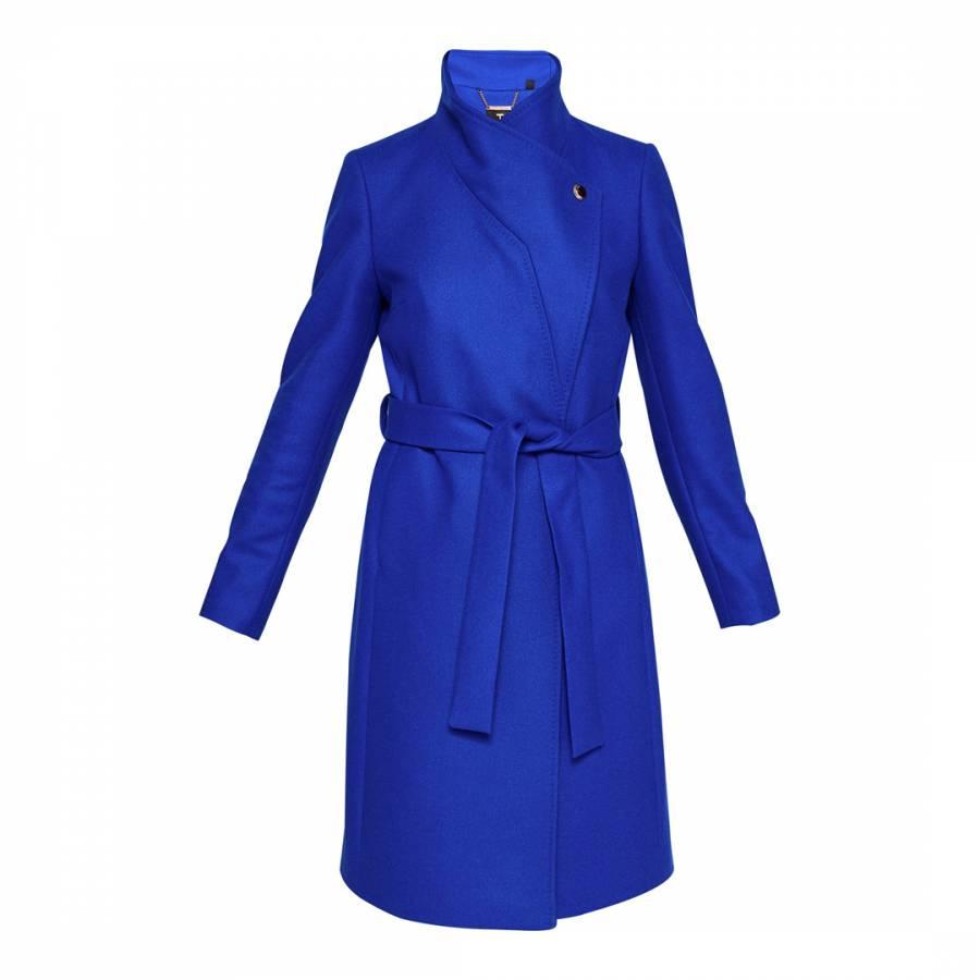 45b2a98da Bright Blue Cashmere and Wool Blend Samiye Long Wrap Coat - BrandAlley