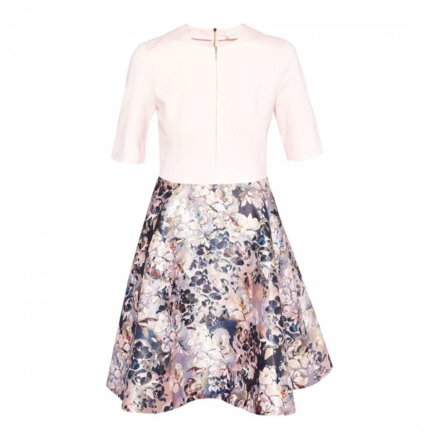 f7a6a113fa1af Pale Pink Amarlia Eloquent Jacquard Skater Dress - BrandAlley