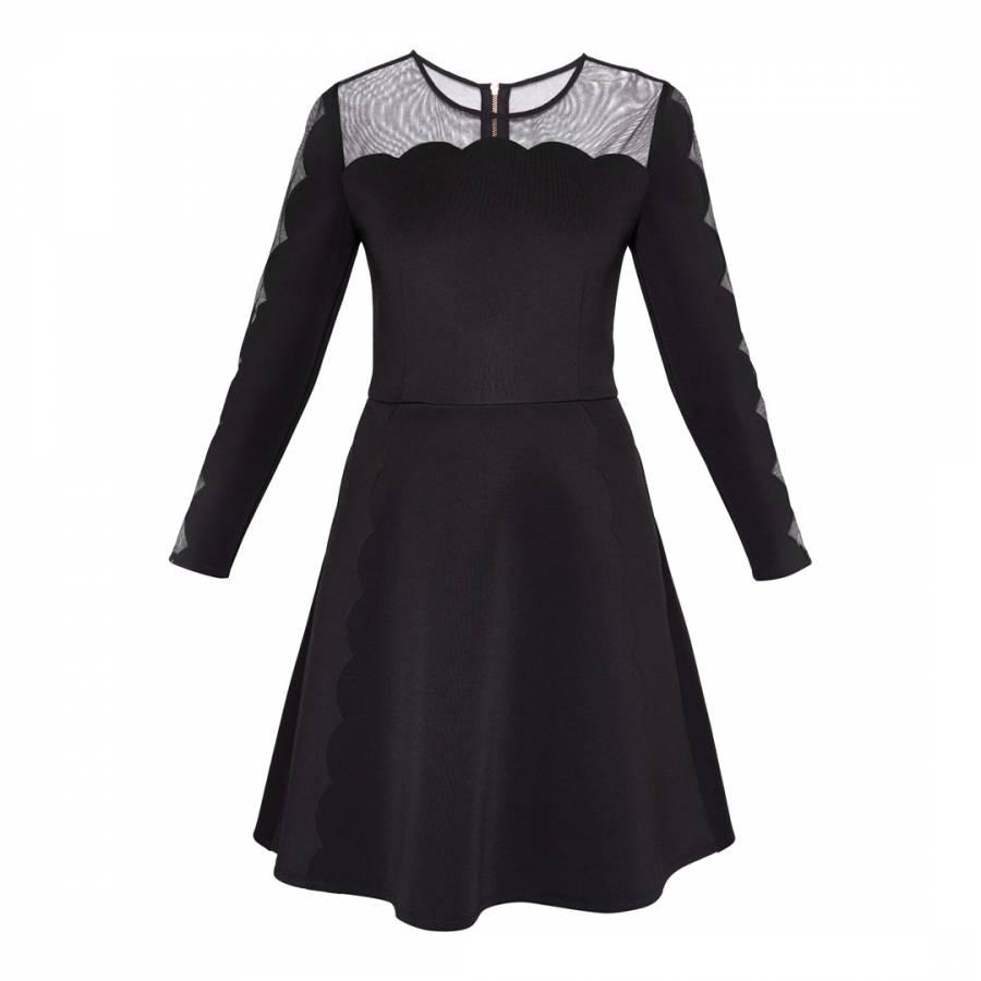 b68234e5d Black Kikoh Mesh Panelled Skater Dress - BrandAlley