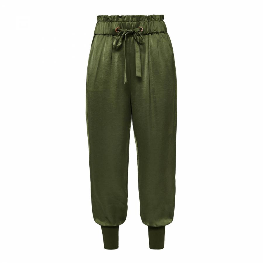 769d3e13c001d0 Khaki Nayarmi Paper Bag High Waist Trousers - BrandAlley