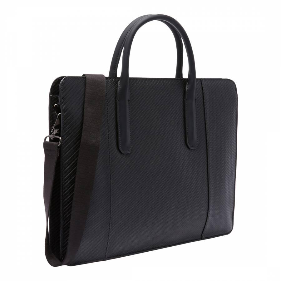 745d2c2588b2 TED BAKER Men s Black Leather Montan Carbon Fibre Slim Document Bag ...
