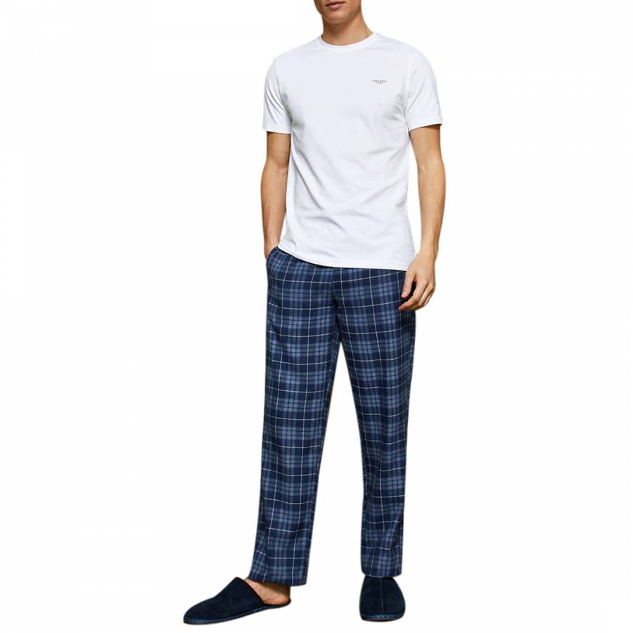 a18f5c5c1e9f44 Blue Spormen Check Lounge Trousers And T-Shirt - BrandAlley