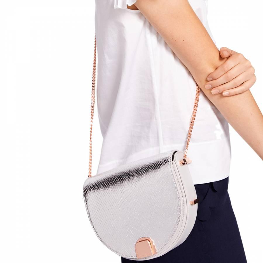 911ce5eb84 Light Grey Annii Mini Exotic Detail Moon Bag - BrandAlley