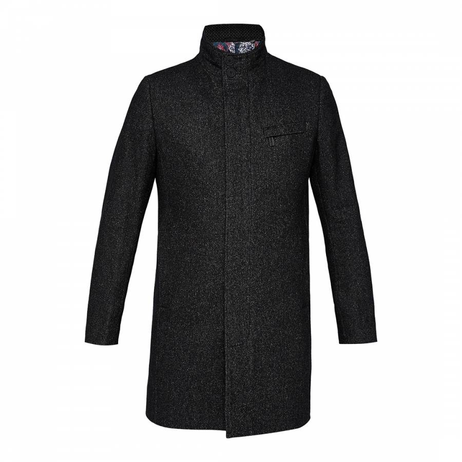 f57bfc1d842d Charcoal Marvin Wool Blend Overcoat - BrandAlley
