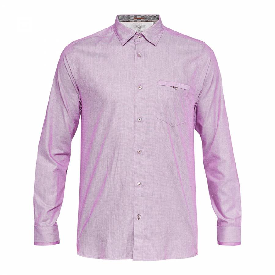 b0100b7b9 Ted Baker. Light Pink Cotton Ifel Semi Plain Shirt