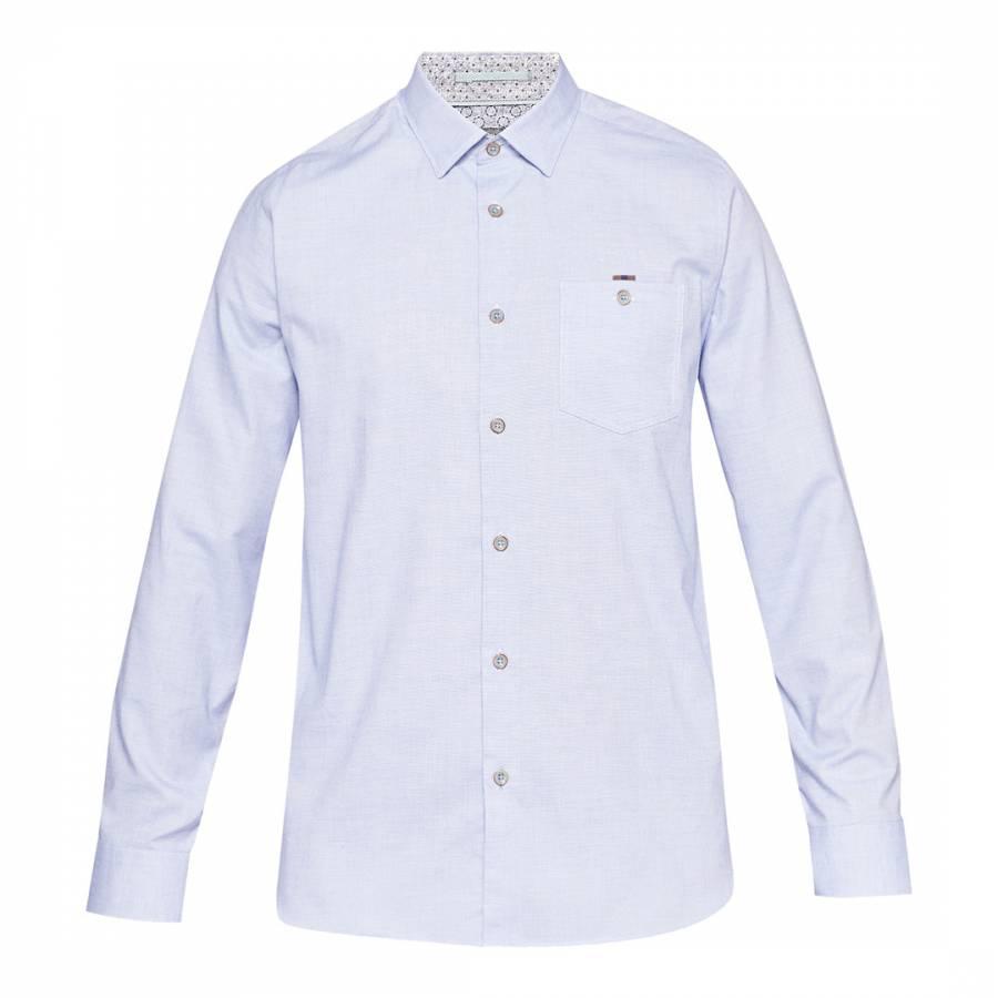 b8384430163d6d Blue Textured Cotton Shirt - BrandAlley