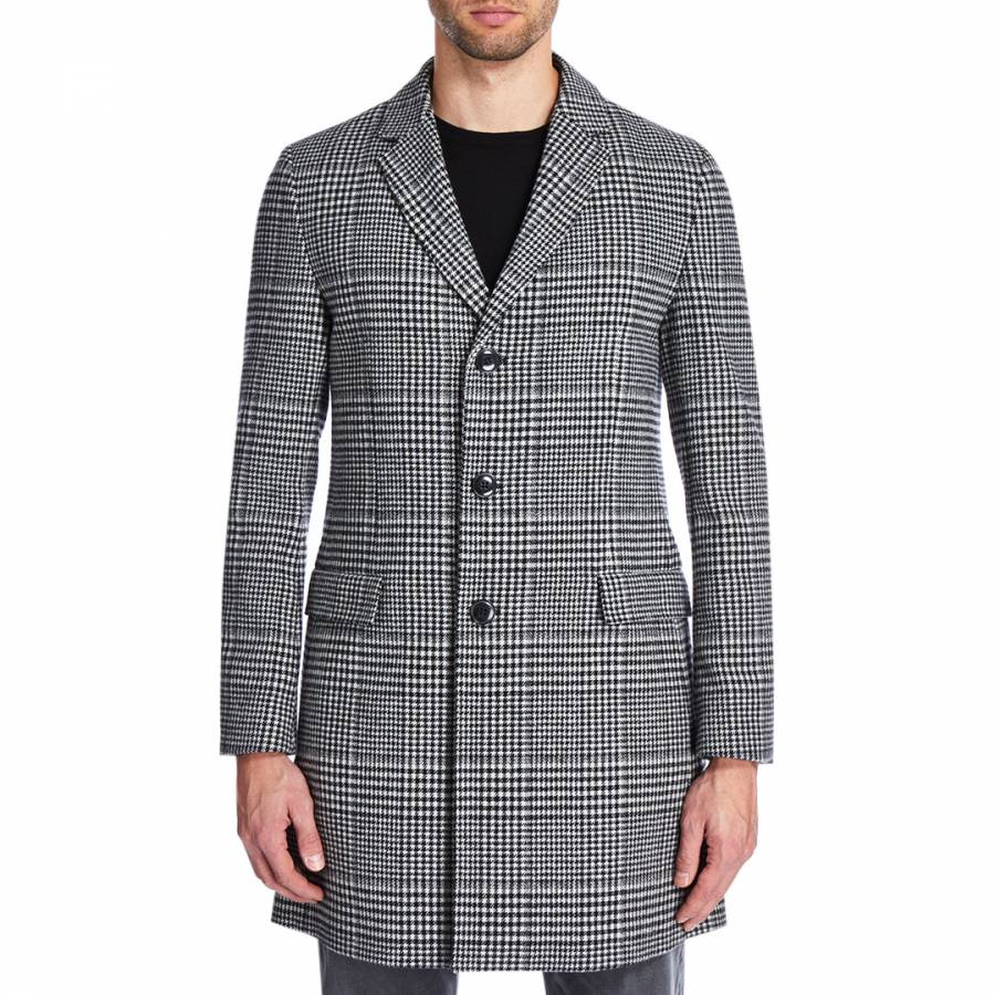 274045eb7 Boss by Hugo Boss Black Grey Migor Dogtooth Straight Coat