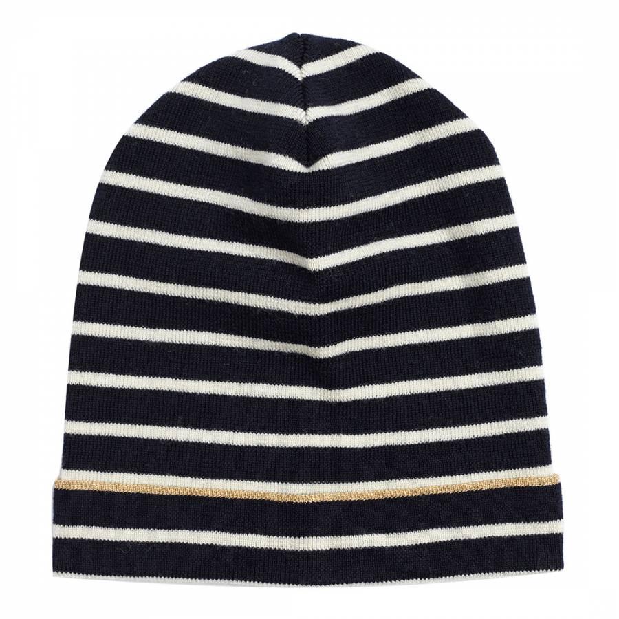 Black Cream Gold Lurex Breton Wool Hat Brandalley