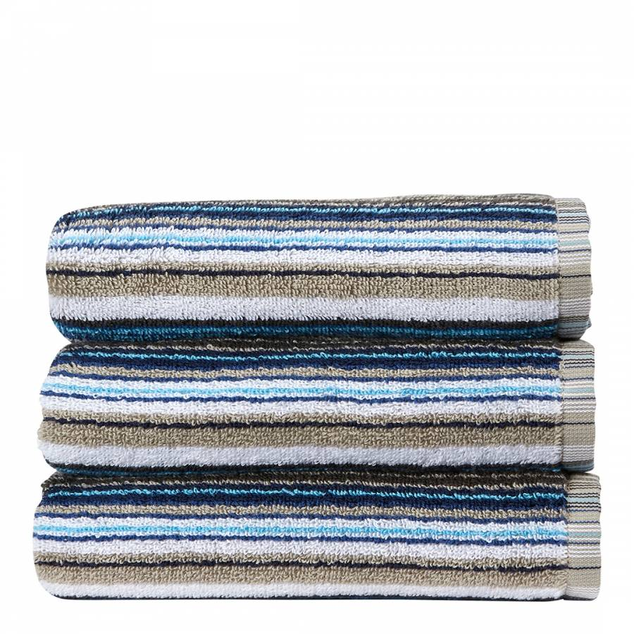 Barcode Stripe Hand Towel Blue Brandalley
