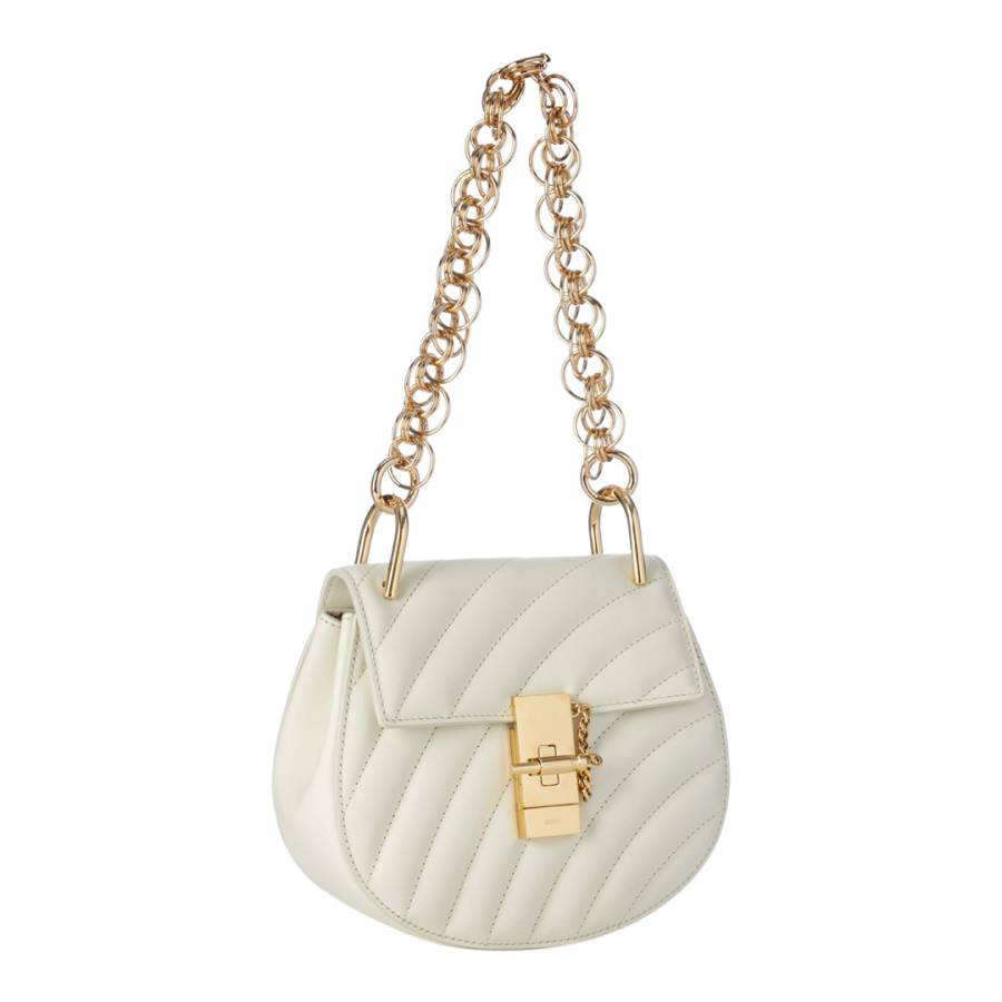 f8a0ba2ef3 White Chloe Drew Quilted Small Gold Chain Shoulder Bag - BrandAlley
