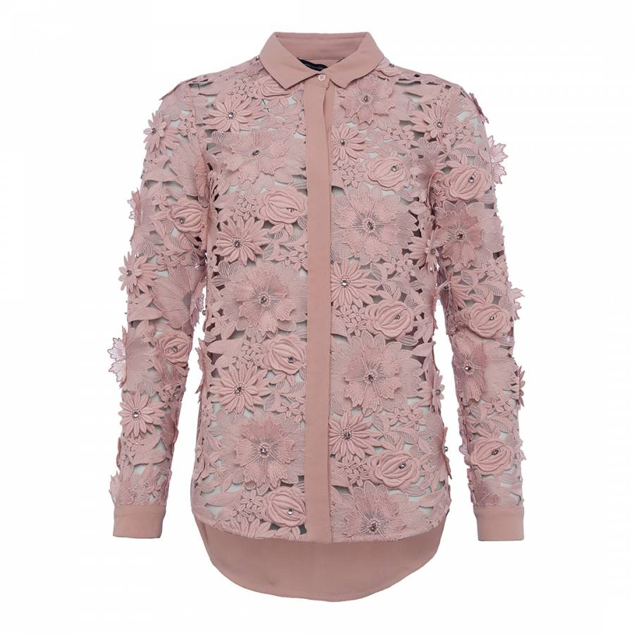 6cf73aab7ed0c French Connection Cinder Rose Manzoni Lace Shirt