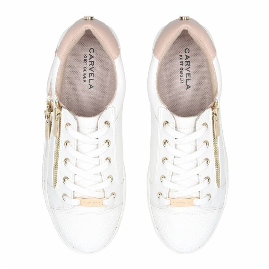 White \u0026 Nude Jagged Low Top Trainers