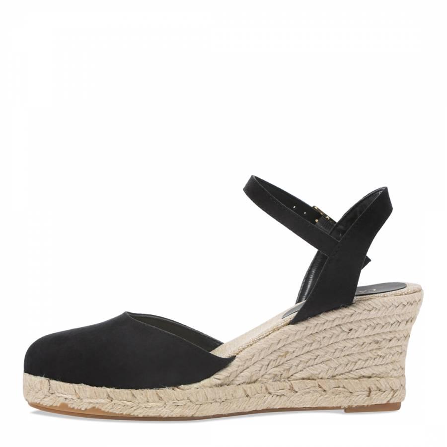 7c80b1abc63 Black Suedette Sabrina Espadrille Wedge Sandals - BrandAlley