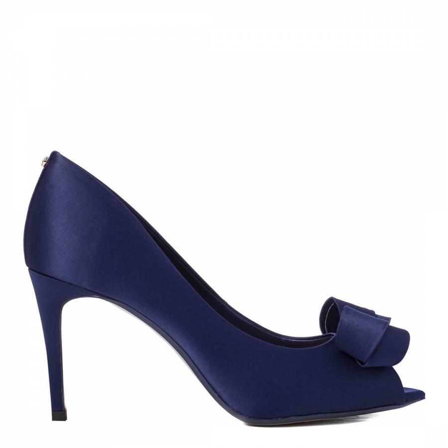 fd62007b929 Navy Satin Vylett Bow Peep Toe Court Shoes - BrandAlley