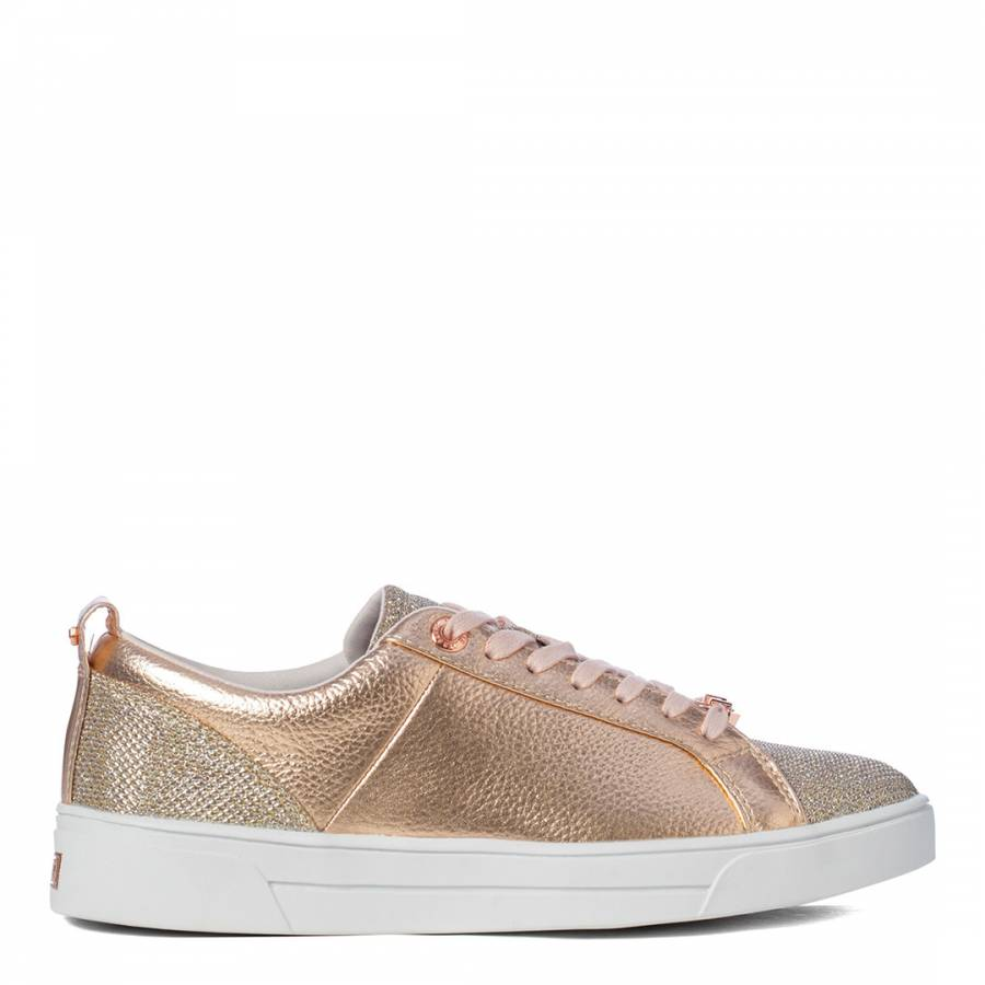 Rose Gold Leather Kulei Lurex Trainers