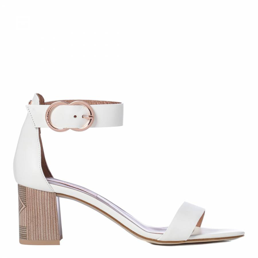 b1f1e65d41 White Leather Qarvas Block Heel Sandals - BrandAlley
