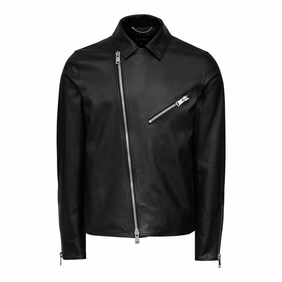 34f1b2a57 Black Faubourg Aysmetric Zip Leather Biker Jacket - BrandAlley