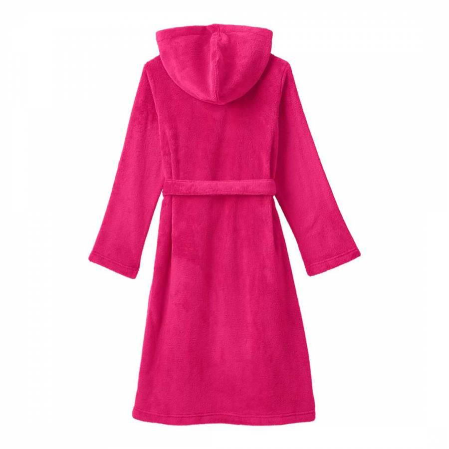 Lands End Girls  Dark Pink Plain Fleece Dressing Gown dc4eafc1d