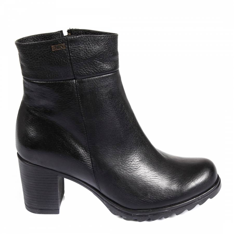 9cff3b9218d8 Black Leather Block High Heel Ankle Boots - BrandAlley