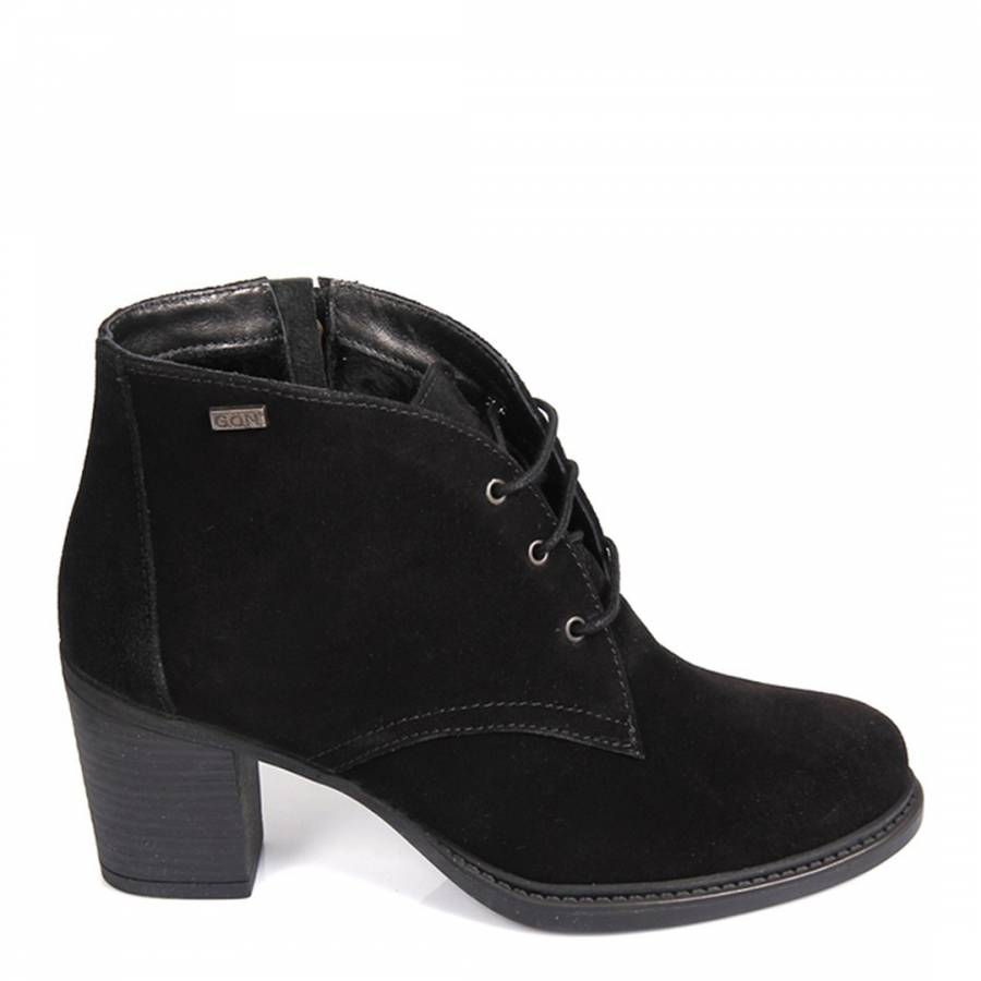 5d12ed2f273b Black Suede Lace Up Heeled Shoe Boots - BrandAlley