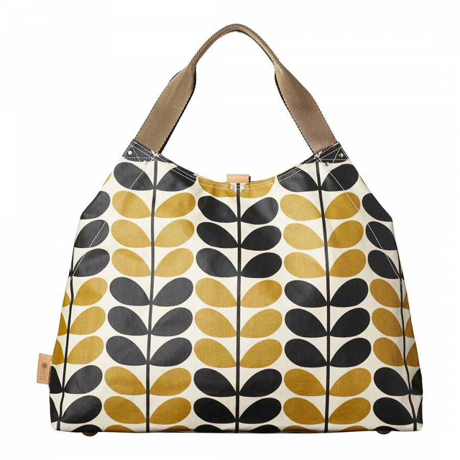 1f154f7346a Orla Kiely. Yellow Dandelion Stem Check Print Large Holdall Bag