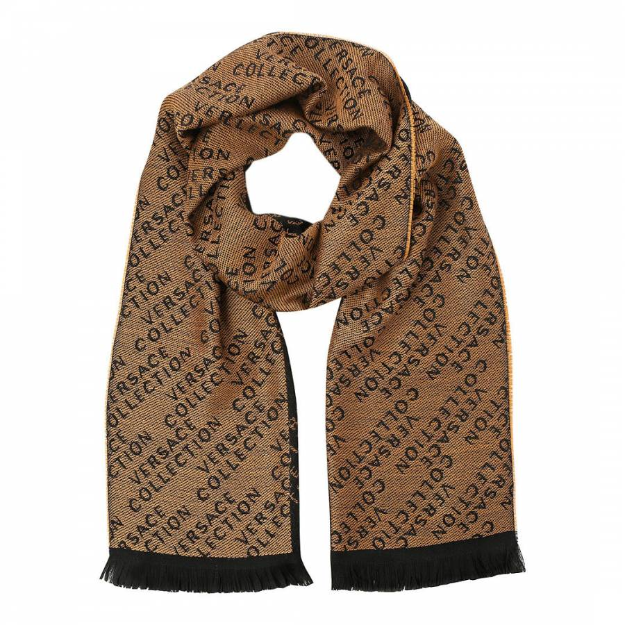 ab1b329cd Versace Collection. Black/Beige Wool Blend Scarf ...