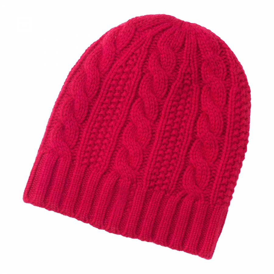 e0d58669ddc Rich Red Cashmere Cable Knit Hat - BrandAlley