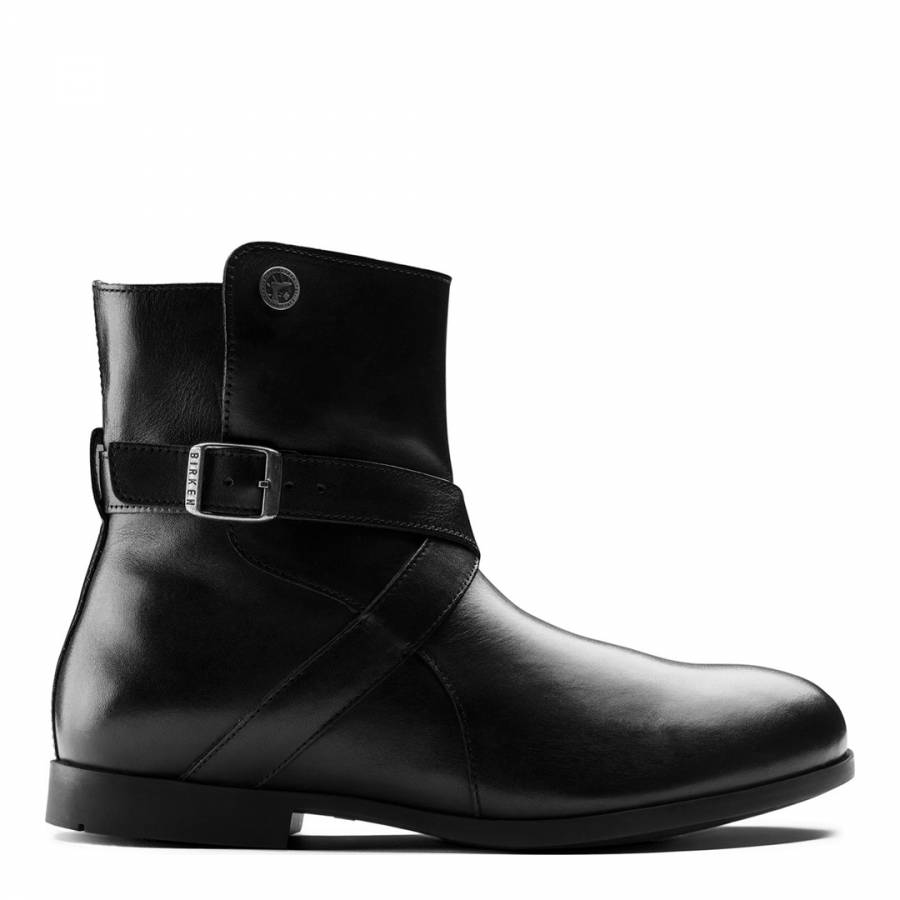 c8a348fcd8bec Black Leather Collins Cross Strap Buckle Narrow Ankle Boots - BrandAlley