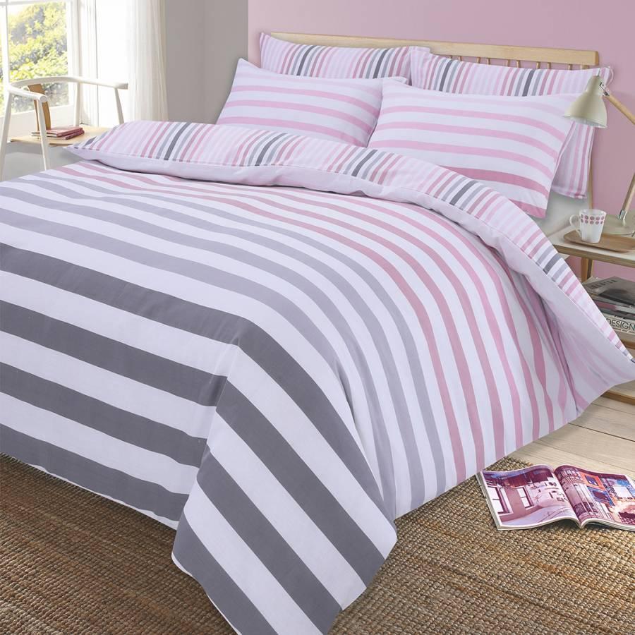 Fade Stripe Single Duvet Cover Set Pink Brandalley