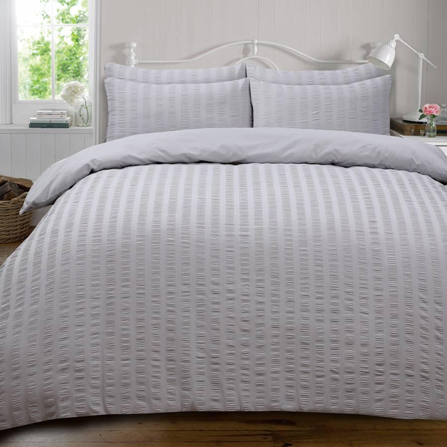 modern master bedroom with threshold seersucker duvet cover set | Seersucker Double Duvet Cover Set, Stone - BrandAlley