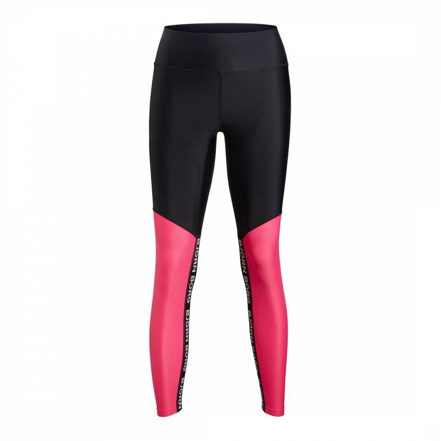 Image of Black And Pink Block High Waist Cara Tights