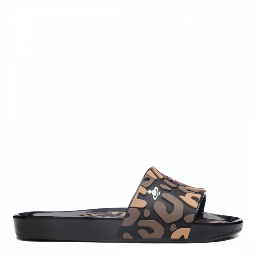 40e48d8eaf4b Black Leopard Contrast Vivienne Westwood for Melissa Beach Slides