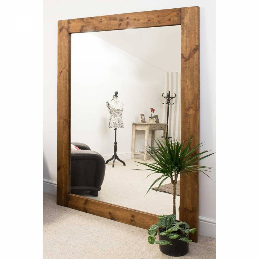 Farmhouse Dark Natural Wood Extra Large Wall Mirror ...
