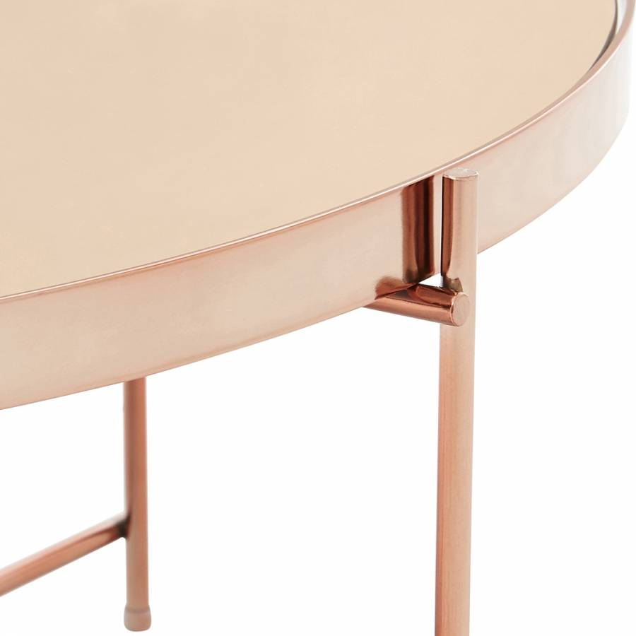 Rose Gold Mirrored Coffee Table: Allure Rose Gold Mirror Coffee Table